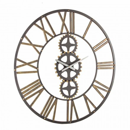 Stor vintage stil väggklocka i stål Homemotion - maj