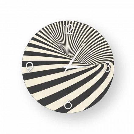 Träklocka dekorerad med Azzio design, tillverkad i Italien