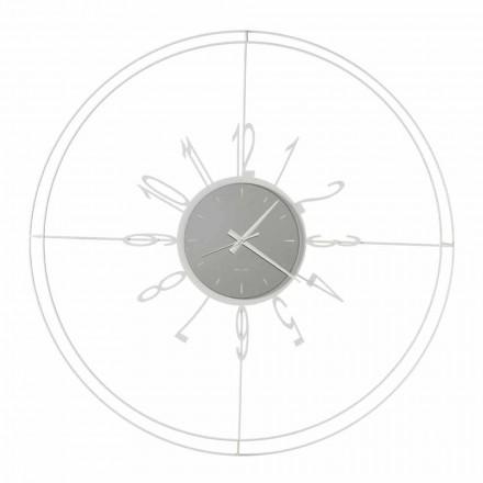 Rund väggklocka i vitt, svart eller bronsjärn tillverkat i Italien - kompass
