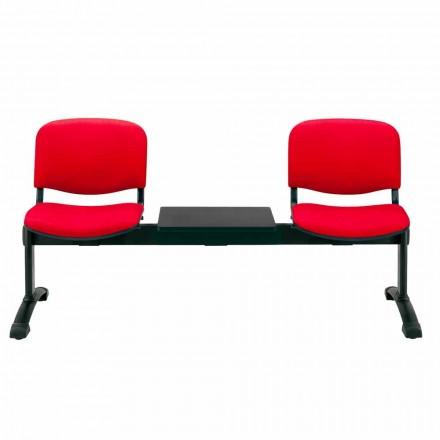 Bänk för väntrum 2 platser i vävnad, Eco-läder eller bok - Carmela