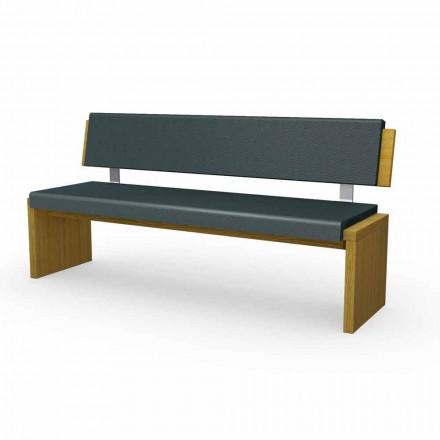 Moderna bänk i ek trä betong i svart ekologiskt läder, Misty