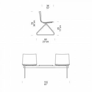 2 -sits kontorsbänk med soffbord i stål och färgad teknopolymer - Verenza