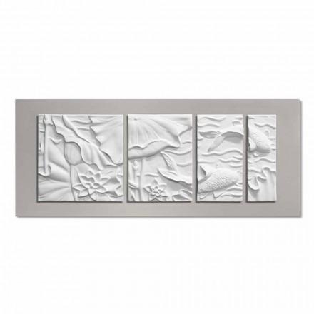 Dekorativ väggpanel Modern design vit och grå keramik - Giappoko