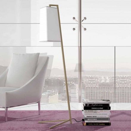 Golvlampa i metall med modern vit bomullsskärm Tillverkad i Italien - Barton