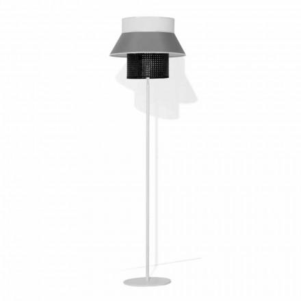 Modern golvlampa i metall och lampskärm i bomull och rotting Made in Italy - Sailor