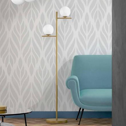 Modern golvlampa i metall mässingsfinish och opalglas tillverkad i Italien - Carima