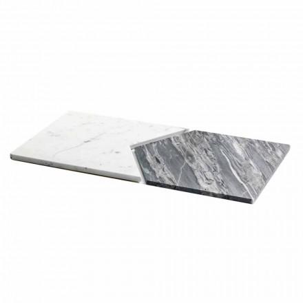 Serveringsplattor i Carrara och Bardiglio marmor Tillverkad i Italien, 2 delar - ärt