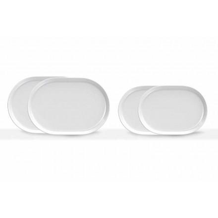 Moderna vita ovala serveringsplattor i porslin 4 delar - Arktis