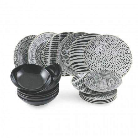 Porslin och svarta stengodsplattor Komplett bordsservice 18 stycken - Tribu