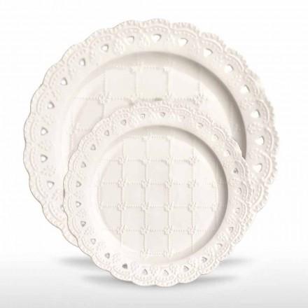Favoritplatta 12 stycken i vitt porslinhand dekorerat - Rafiki