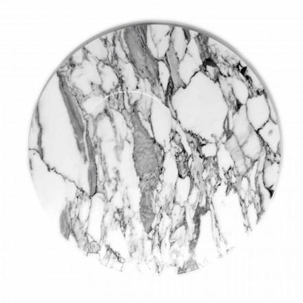Rund serveringsplatta i vit Carrara-marmor Tillverkad i Italien - Kamil