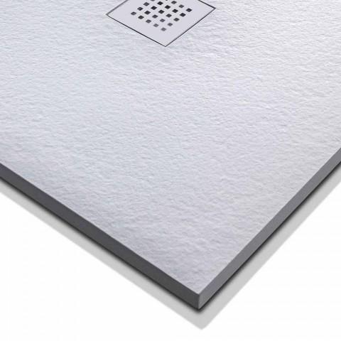 120x90 duschbricka i stenharts med stålgaller - Domio