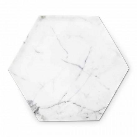 Sexkantig designplatta i vit Carrara-marmor tillverkad i Italien - Sintia