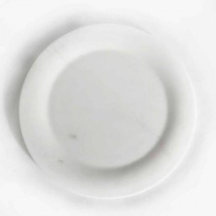 Platt tallrik i blank vit staty marmor av Made in Italy Design - konjak