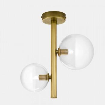 2 lampor glas och naturlig mässing taklampa tillverkad i Italien - Molecola av Il Fanale