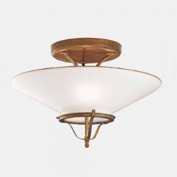 3 lampor taklampa i mässing och kon Murano-glas - land av Il Fanale