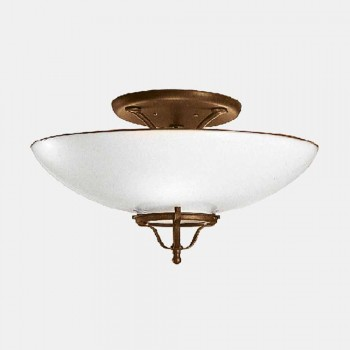 3 Lights Ceiling Lamp in Messing and Murano Glass Semisfera - Country av Il Fanale