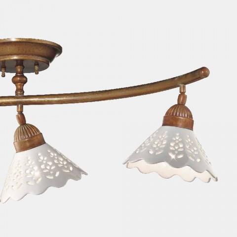3 lampor taklampa i mässing och perforerad keramik - Fiordipizzo av Il Fanale