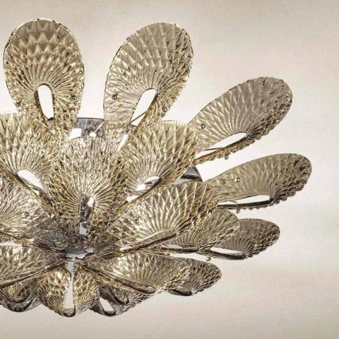 Artisan taklampa i rökt venetianskt glas, tillverkad i Italien - Minos