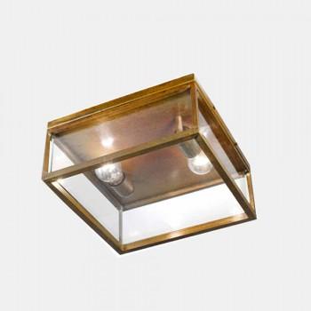 2-taks taklampa utomhus i mässing och vintageglas - ram av Il Fanale