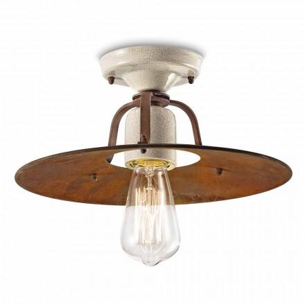 Taklampa tillverkad av keramik och metall vintage Elaine Ferroluce