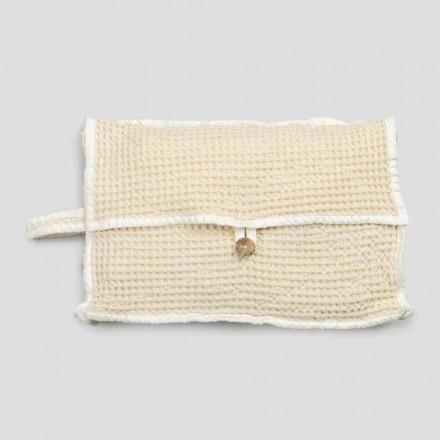Naturlig vit honungskaka bomullskopplingsväska med pärlemorsknapp - Anteha