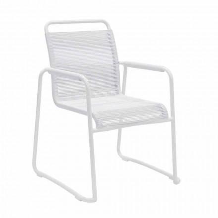 Trädgårdsstol i vit aluminium modern design stapelbar - Wisky
