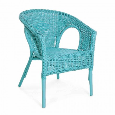 Designstapelbar trädgårdsfåtölj i vit, blå eller grön rotting - Favolizia