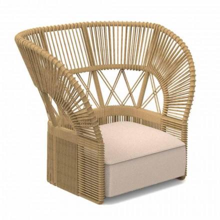 Modern trädgårdsstol vadderad med rep och tyg - Cliff Decò Talenti
