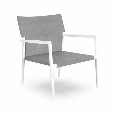 Modern trädgårdsfåtölj i aluminium och grå textilene - Adam av Talenti