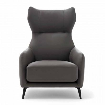 Läderstol med lackerad metallfot tillverkad i Italien - valnöt