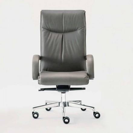 Kontorsfåtölj roterande i läder och ekoläder - Oliviero