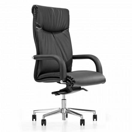 Presidentens kontorsstol med svarta faux läderhjul - Tomomi
