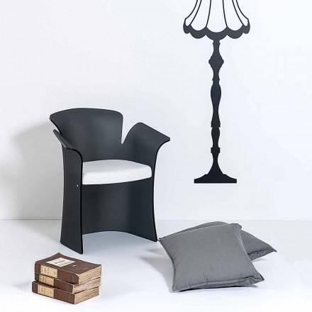 Fåtölj med en svart satin tulpan modern design, tillverkad i Italien