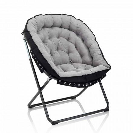 Design fåtölj i ljusgrå sammet med svart metallkonstruktion - Tronia