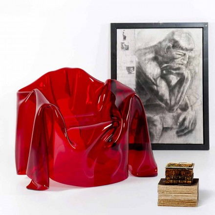 modern design fåtölj röd plexiglas Paris, tillverkad i Italien
