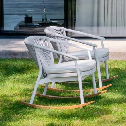 Garden Rocking Armchair i massivt trä och tyg - Smart av Varaschin