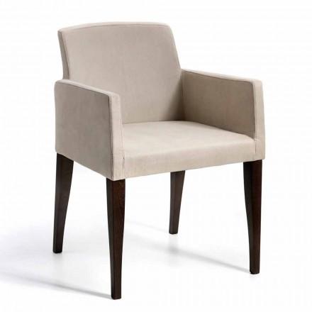 Omega modernt designfaux läder och trä fåtölj, tillverkad i Italien