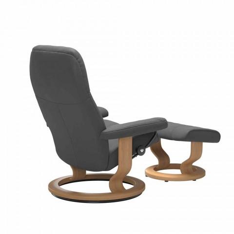 Avslappnande vilande läderfåtölj med Pouf - Stressless Consul