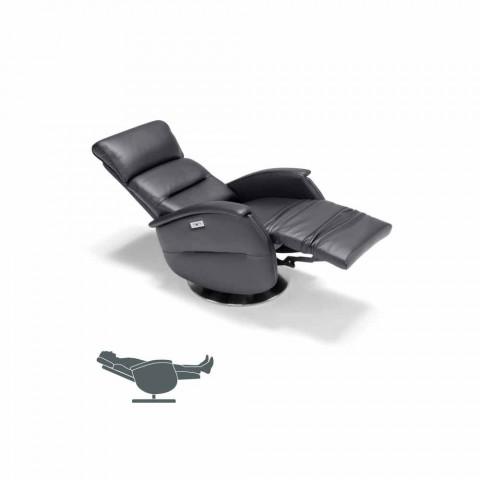 Motoriserade snurrfåtölj koppla av i tyg / läder / konstläder Gemma