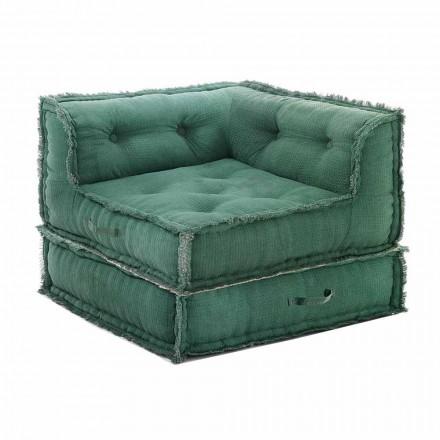 Corner Chaise Longue fåtölj i grå, grön eller blå bomull - fiber