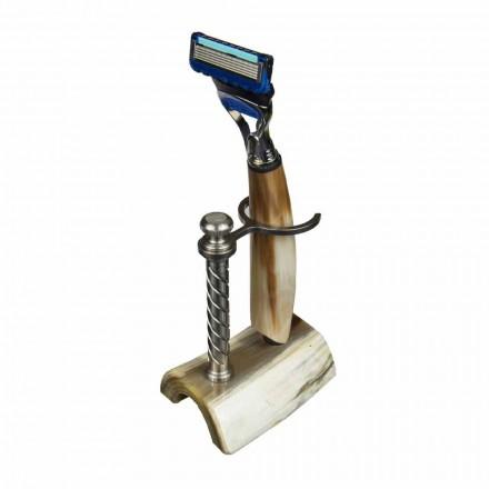 Handgjord rakhållare i horn eller trä med rakhyvel tillverkad i Italien - Diplo