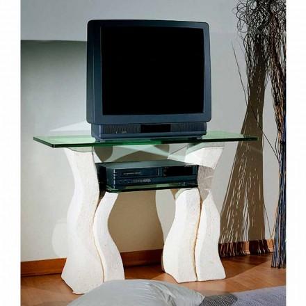 TV-stativ i Vicenza Sten och handsnivad Khloe-kristall