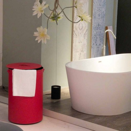 Cylindrisk tvättkorg i regenererad handgjord läder Roby