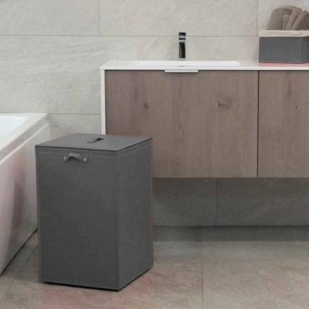 Tvättkorg på en kvadratisk bas Leather David, tillverkad i Italien