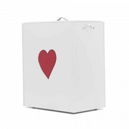 Samtida läder tvättkorg tillverkad i Italien Adele, hjärtinsats