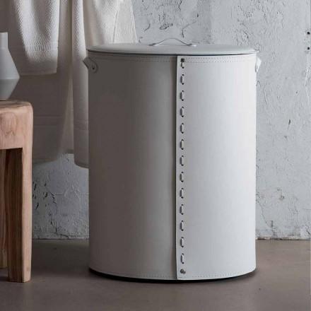 Oval tvättkorg i Riky regenererat läder tillverkat i Italien
