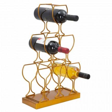 Golv- eller bordflaskhållare 6 järnflaskor, modern design - Brody