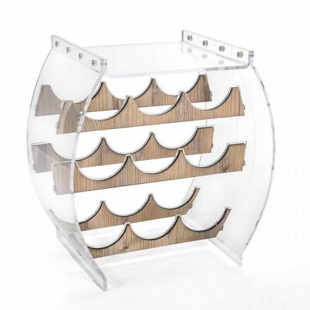 Golvflaskhållare i transparent plexiglas och trädesign 9 platser - Stria