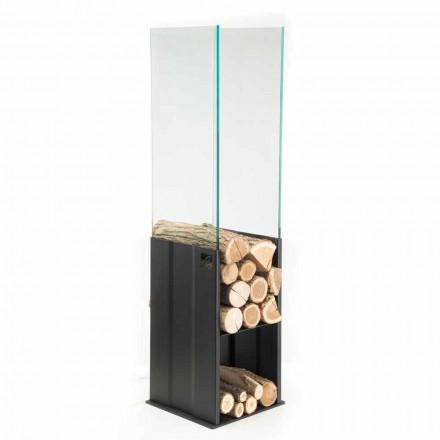 Intern trähållare Modern design i stål och glas tillverkad i Italien - Mistral
